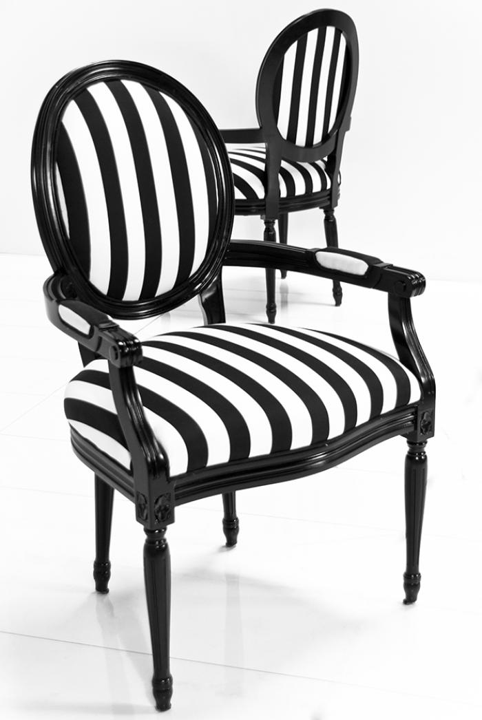 Louis Dining Arm Chair In Black White Stripe Fabric