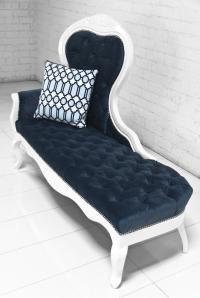 Riviera Chaise lounge in Navy Velvet