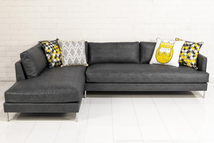 Slim Jim Sectional in Grey Faux Lizard Leather : faux leather sectionals - Sectionals, Sofas & Couches