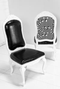 Monte Carlo Dining Chair in Black Faux Lizard Leather
