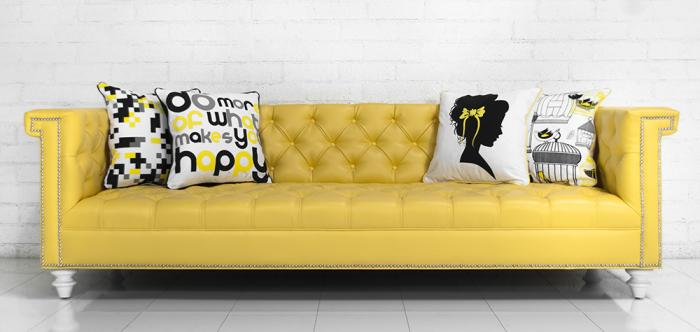 sinatra sofa in canary faux leather