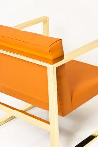 Brass kube Chair in Hermes Orange Faux Leather