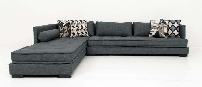 Milano Sectional in Charcoal Linen