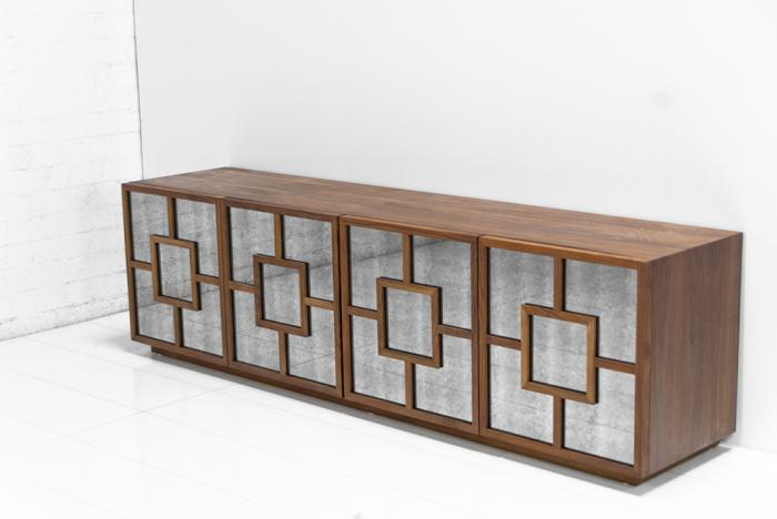 St. Tropez Credenza in Walnut and Antique Glass