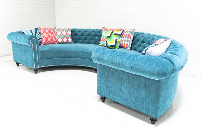 Chesterfield Sectional In Turquoise Velvet