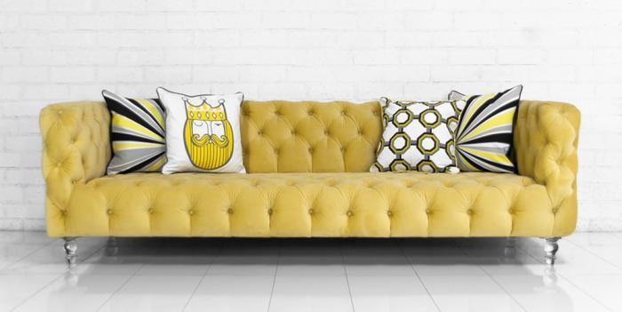 Superieur Boca Sofa In Volt Yellow Velvet
