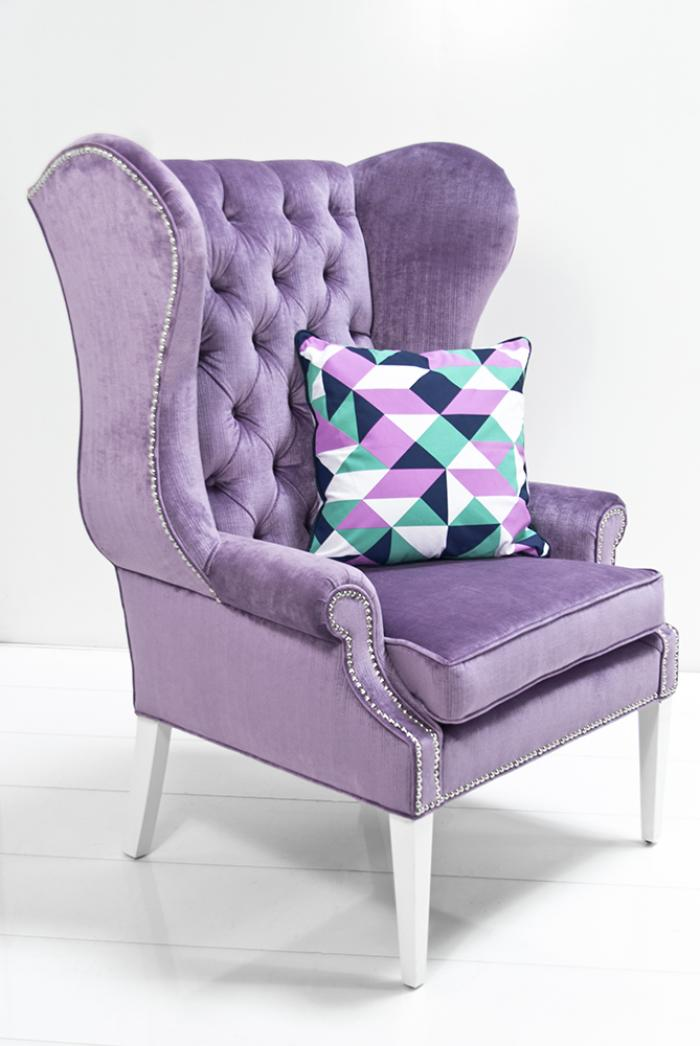 Exceptional Swan Wing Chair In Lavender Velvet