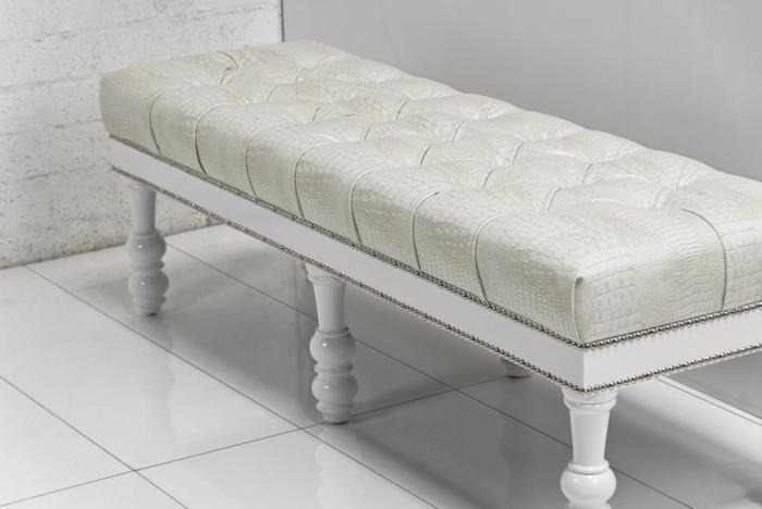 Cream Leather Bench in Faux Cream Croc Leather