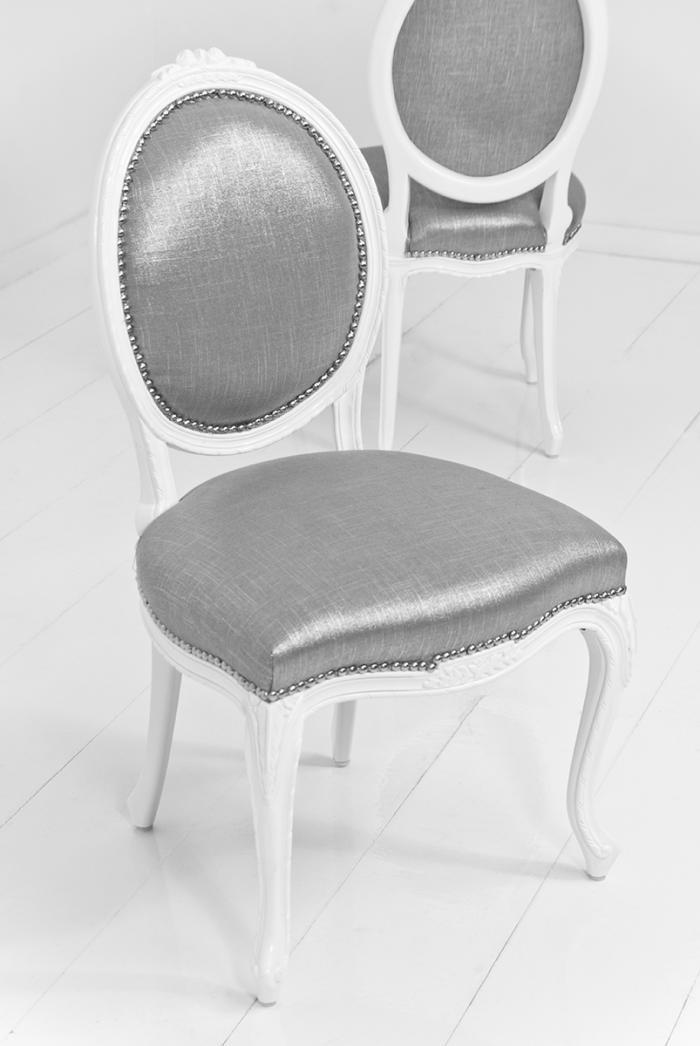 Victoria Dining Chair In Metallic Talpa Linen