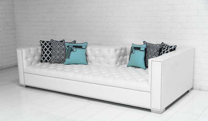 Captivating Lola Tufted Sofa In Mesa White Faux Leather