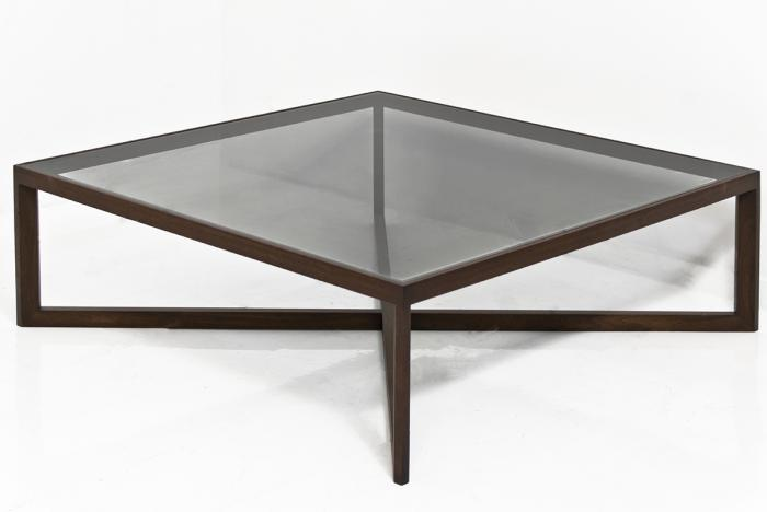 The X Coffee Table In Walnut And Smoked Glass
