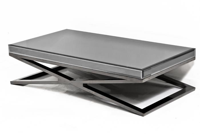 Fat black chrome x leg smoked mirror coffee table Black and chrome coffee table