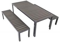 Modern Aluminum Table and Bench Set