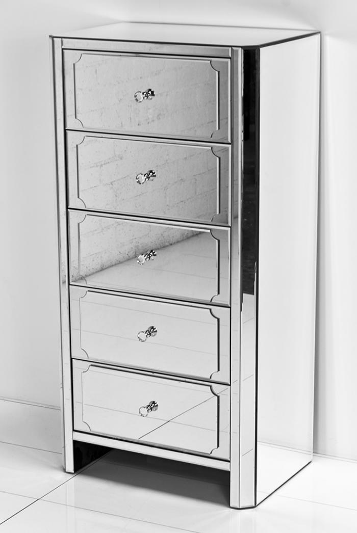 Regency All Mirror 5 Drawer Tall Dresser