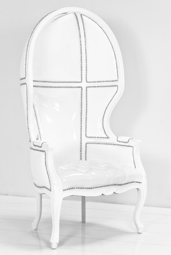 Balloon Chair In Splash White Faux Patent Leather