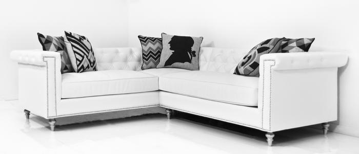 Sinatra Sectional in Mesa White Faux Leather
