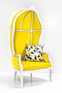 French Twist Balloon Chair in Yellow Faux Leather