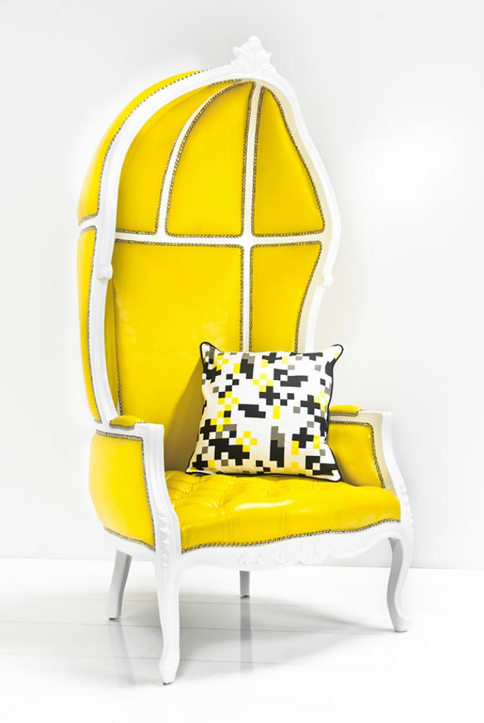 Charmant French Twist Balloon Chair In Yellow Faux Leather