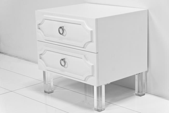 Hollywood 2 drawer nightstand - lucite legs