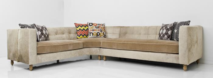 Blonde Cowide and Ecru Mohair Curved Sectional