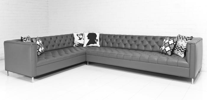 com hollywood sectional in dark grey genuine leather