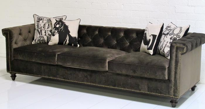 Sinatra Sofa In Brown Velvet With Down Wrapped Cushions