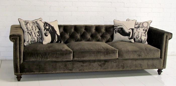 Brown Velvet Sofa Lola Tufted Armless Sofa Couch Living