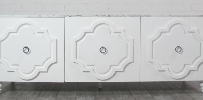 Three Door Marrakesh Credenza with Marble Top