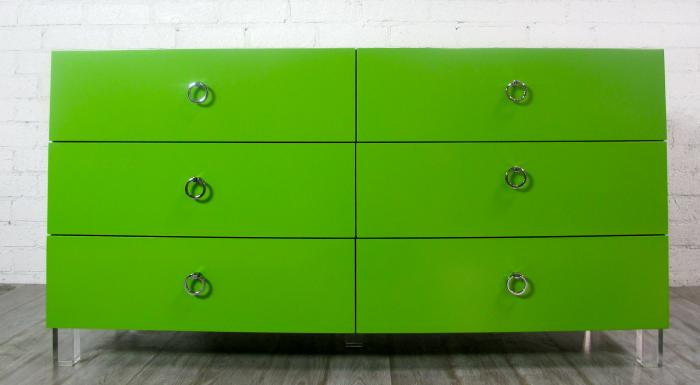 Pop Green Dresser with Lucite Legs