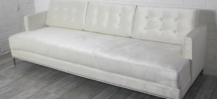 Down with Love Sofa in Off-White Shiny Velvet