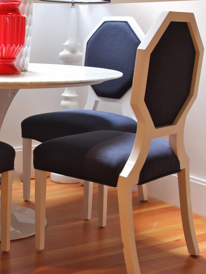 Navy Linen Octagon Dining Chairs