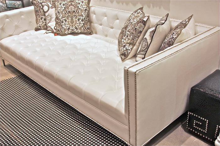 White Faux Leather Tufted Deep Sofa