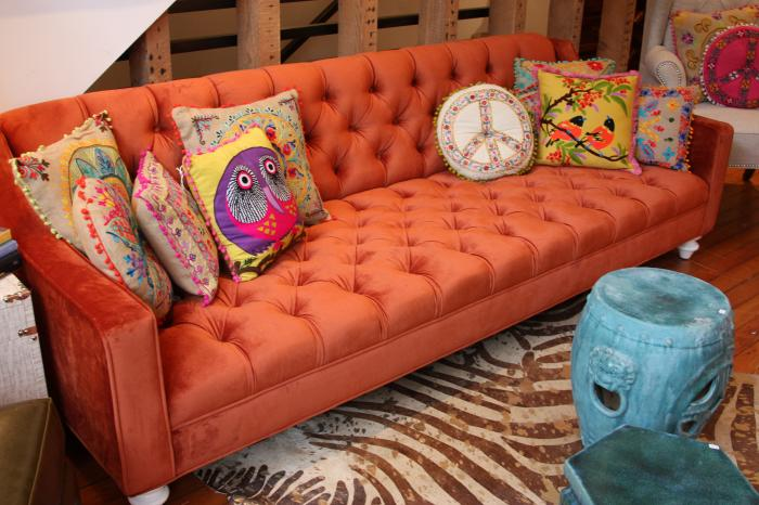 Audrey Sofa In Burnt Orange Velvet
