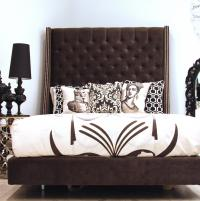 St. Tropez Bed in Charcoal velvet