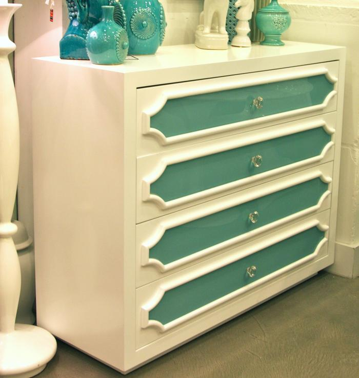 Hollywood Dresser with Aqua glass From Room Service Store