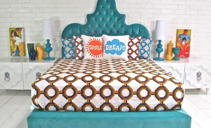 Tangier Bed in Aqua Velvet