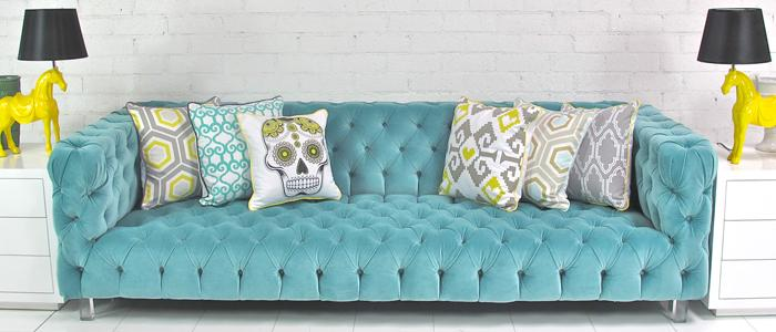 Bon Boca Tufted Aqua Velvet Sofa