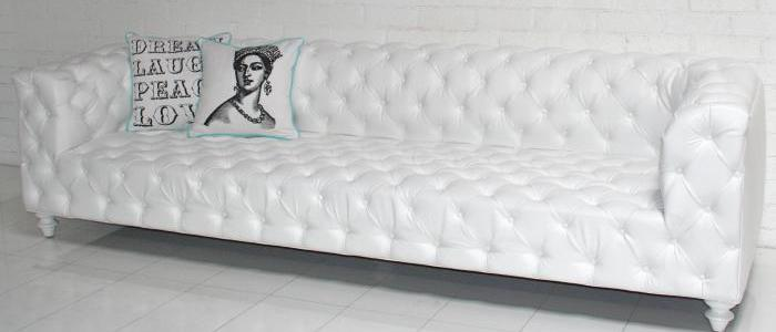 Trousdale Sofa - white faux leather