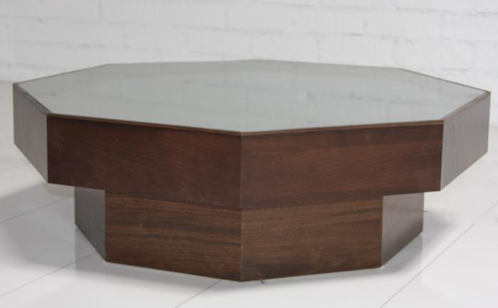 Wwwroomservicestorecom walnut grey glass octagon for Octagon coffee table