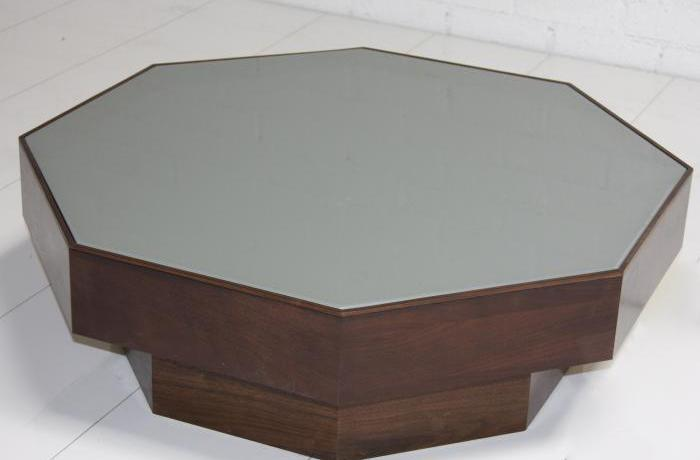 Walnut/Grey Glass Octagon Coffee Table