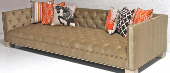 Tufted Deep Sofa - Sand Velvet