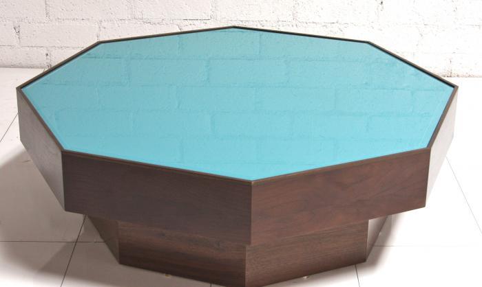 wwwroomservicestorecom WalnutTurquoise glass Coffee Table