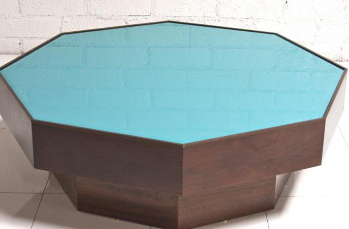 Walnut/Turquoise glass Coffee Table