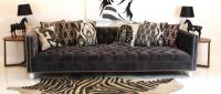 Tufted Deep Sofa in Charcoal Velvet