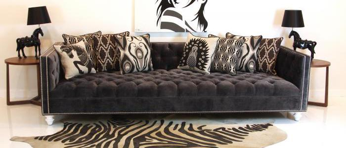 Incroyable Tufted Deep Sofa In Charcoal Velvet