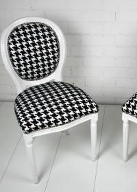 Louis Chair in Hounds Tooth