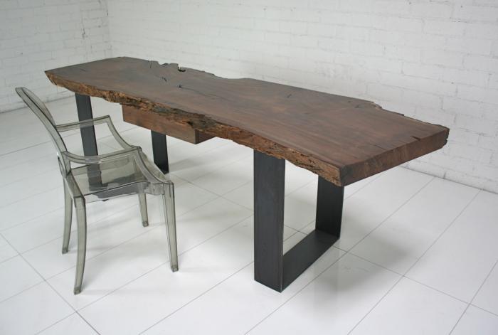 Www Roomservicestore Com Industrial Modern Walnut Slab Desk