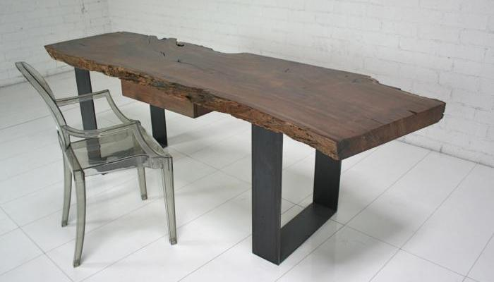 Industrial Modern Walnut Slab Desk
