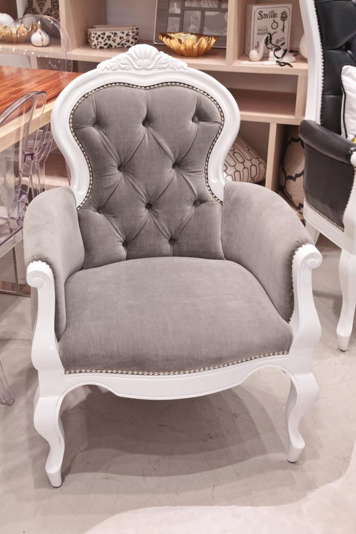 Grey Velvet Cannes Chair