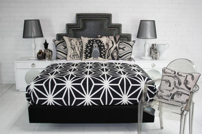 Santorini Bed- Black Faux Leather